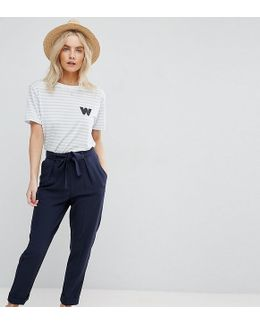 Woven Peg Trousers With Obi Tie