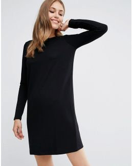 Shift Dress In Ponte With Long Sleeves