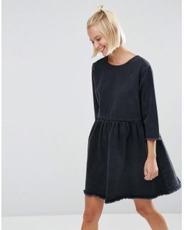 Denim Smock Dress With Raw Hem In Washed Black