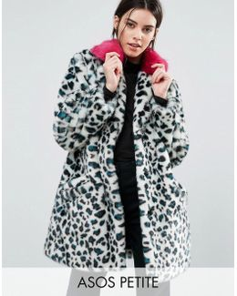 Faux Fur Coat In Leopard Print With Bright Collar