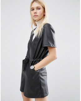 Leather Look Playsuit