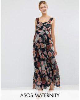 Wedding Floral Chiffon Bandeau Maxi Dress
