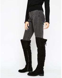 Hop Lace Back Flat Over The Knee Boots