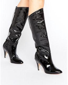 Hydra Patent Heeled Knee Boots