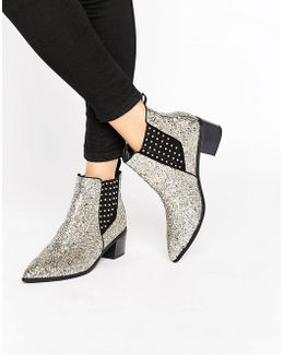 Amber Silver Glitter Chelsea Boots