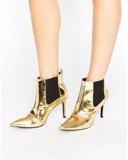 Angles Gold Mirror Heeled Ankle Boots