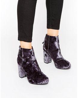 Annie Grey Velvet Heeled Ankle Boots