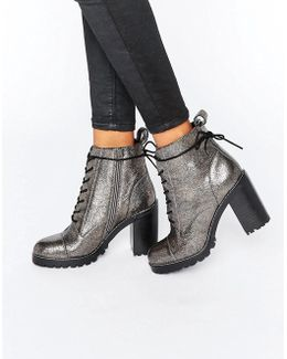 Ammo Pewter Leather Chunky Lace Up Heeled Ankle Boots
