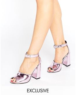 Stella Pink Mirror Flare Heeled Sandals