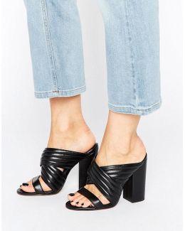 Sierra Black Leather Heeled Mules