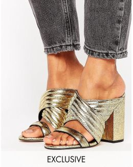 Sierra Gold Cracked Leather Heeled Mules