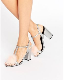 Sugar Pom Pom Silver Metallic Block Heeled Sandals