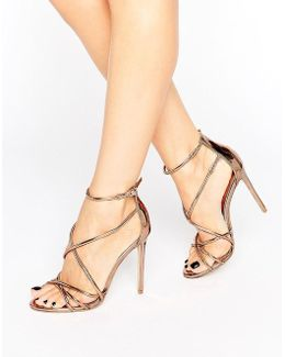 Spindle Rose Gold Mirror Strappy Heeled Sandals