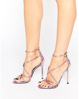 Spindle Pink Mirror Strappy Heeled Sandals
