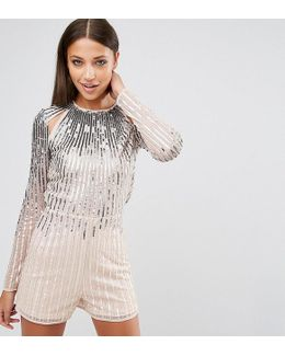 Night Ombre Sequin Playsuit With Cut Outs