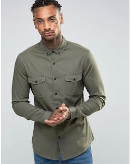 Skinny Military Shirt In Green