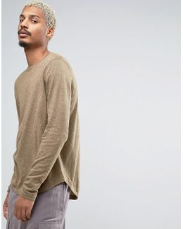 Crew Neck Jumper With Curved Hem