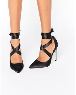 Pino Satin Lace Up Pointed Heels