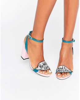Harrow Slogan Glitter Heeled Sandals