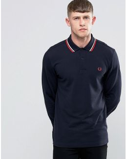 Polo Shirt With Long Sleeves In Navy