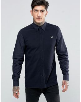 Shirt With Contrast Front In Navy In Slim Fit