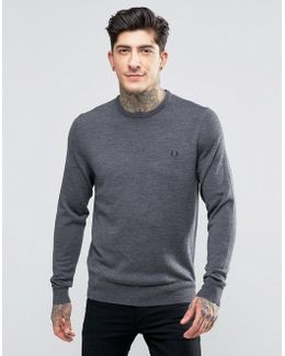 Jumper With Crew Neck In Graphite Marl