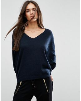 Jumper With V Neck In Swing Shape