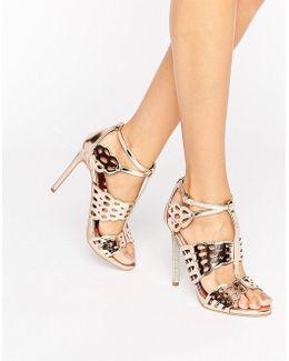 Give Bronze Metallic Heeled Sandals