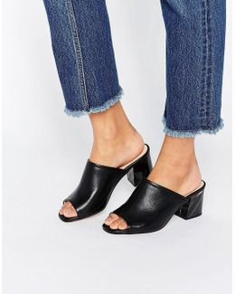 Kg By Kurt Geiger Hector Black Leather Mid Heeled Mules