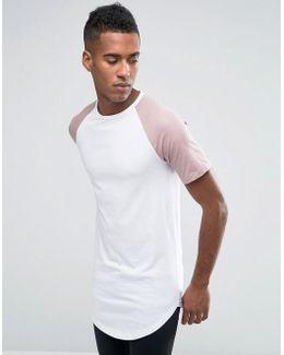 Originals Longline T-shirt With Contrast Raglan Sleeve And Curved Hem