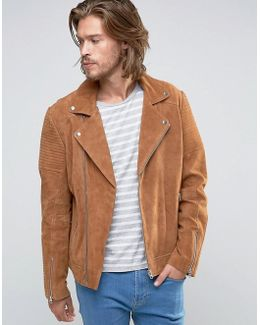 Suede Biker Jacket With Quilting In Tan