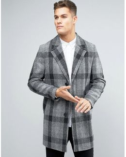 Harris Tweed Overcoat In Grey Check