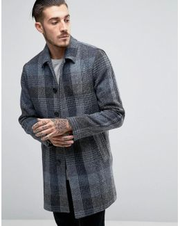 Harris Tweed Trench Coat In Blue Check