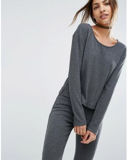Lounge Ribbed Long Sleeve Boxy T-shirt