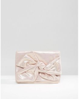 Metallic Soft Bow Clutch Bag