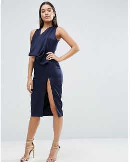 Extreme Cowl Front Cut Out Back Midi Dress