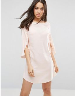 Split 3/4 Sleeve Chiffon Dress