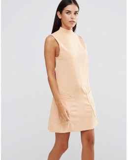 High Neck Shift Dress With Pockets