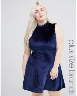 Plus Velvet Skater Dress With High Neck