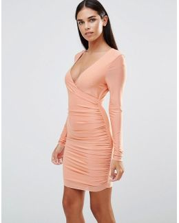 Long Sleeve V Front Slinky Ruched Dress