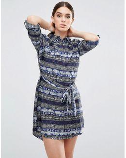 Elephant Printed Shirt Dress