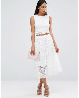 Sleeveless Lace Midi Dress With Cut Out Middle