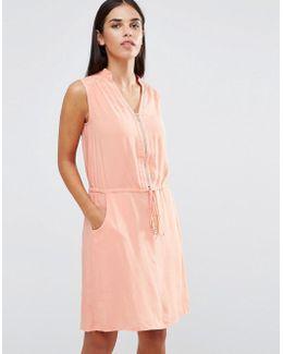 Zip Detail Dress With Drawstring Waist
