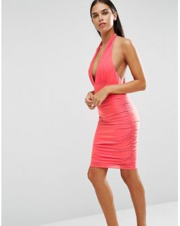 Ruched Halter Neck Dress