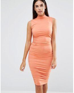 Sleeveless Ruched Midi Dress