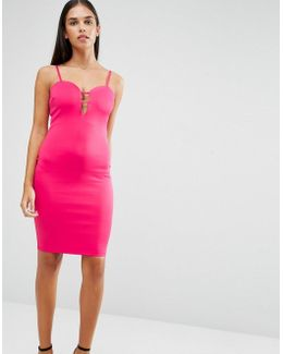 Plunge Front Detail Bodycon Dress