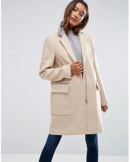 Coat In Classic Fit With Contrast Collar