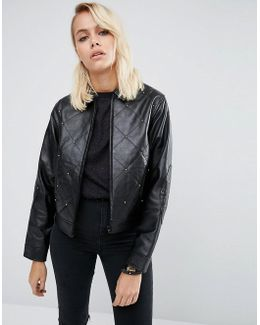 Leather Jacket With 80's Stud Detail