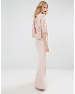 High Neck Lace Top Maxi Dress