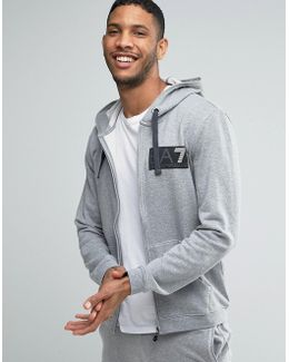 Emporio Armani Zip Up Hoodie With Block Logo In Grey
